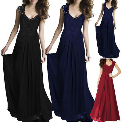 UK Womens Formal Lace Long Chiffon Prom Evening Bridesmaid Wedding Maxi Dress