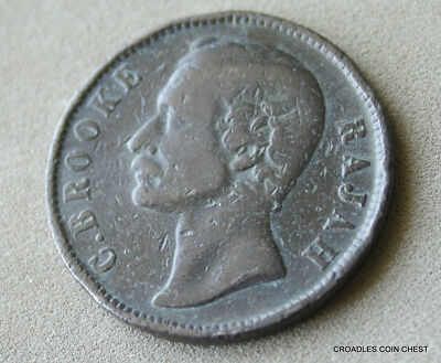 1890h SARAWAK 1 CENT C.BROOKE RAJAH CIRCULATED BRONZE  WORLD COIN  #10P