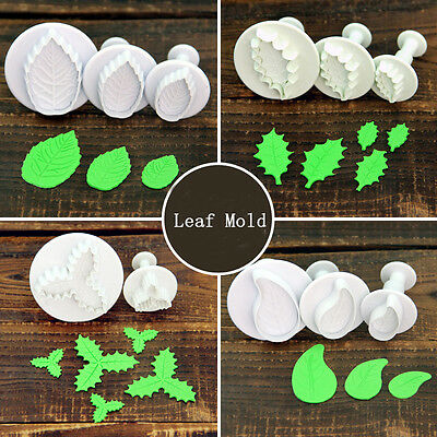 3Pcs Leaf Plunger Cookie Cutter Biscuit Cake Decorating Baking Mould Mold Tool