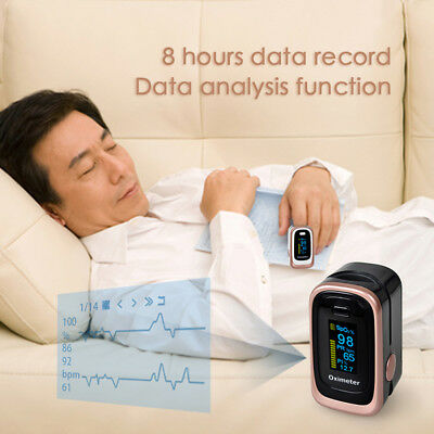 US stock Finger Pulse Blood Oxygen Oximeter Monitor SPO2 PR PI ODI CE FDA BLACK