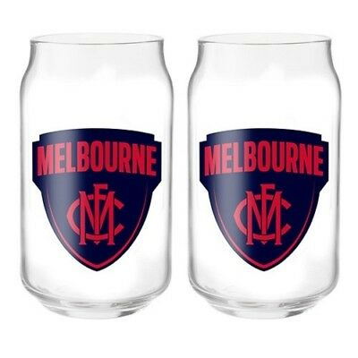 Melbourne Demons Official AFL 2 Can Shaped Glasses, Gift Boxed