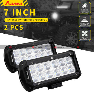 2X 7inch 120W CREE LED Light Bar Flood Work Driving Lamp 12V 24V SUV 4WD Truck