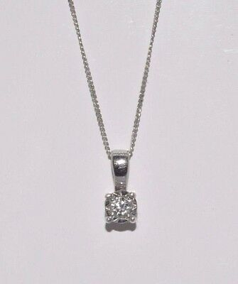 "9ct white gold diamond solitaire pendant 20"" chain"