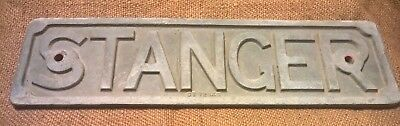 Vintage Industrial STANGER Cast Iron Sign Makers Plaque Badge - Steampunk