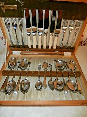 Canteen Of Vintage Cutlery~28 Pieces~Chromium Plated On Nickel Silver Sheffield