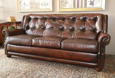Gorgeous 3+ Seat Moran Leather Barcelona Chesterfield Sofa Couch Lounge Suite