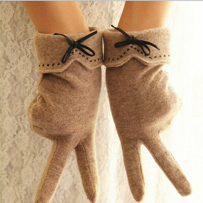 Women Lady Elegant Cashmere TouchScreen Gloves Winter Warm Full Finger Gloves