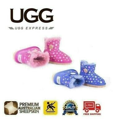UGG Kids Mini Button with Little Star, Genuine Australian Sheepskin