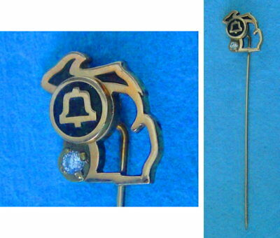 Vintage MICHIGAN BELL Employee Service Stick Pin: 10K Gold Top Emblem
