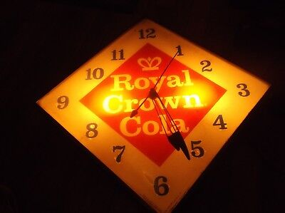 Vintage Royal Crown Cola Pam Clock, Works Exc.,lights,new Rochelle,u.s.a. Large
