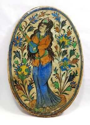 Antique 18Th C Persian Qajar Iznik Islamic Faience Glazed Tile Art Fem. Musician