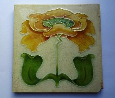 Original Rare Art Nouveau Majolica Tile - Embossed Poppy by John Barrett c.1900