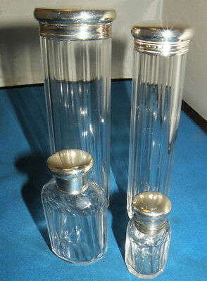 4 Antique Solid Silver & Glass Vanity Perfume Dressing Table Bottles