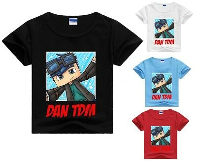 Dan TDM Minecraft Kid's T-Shirt Size 1-12 Black Blue White Pink AU Shop