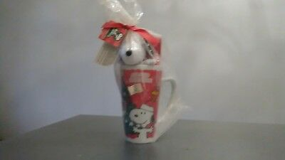 Peanuts Christmas ceramic coffee mug Snoopy Charlie Brown Woodstock New