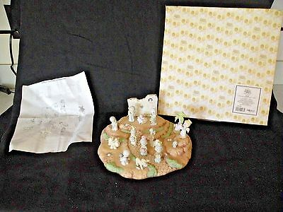 Precious Moments Pewter Nativity Base & 18 Pewter Nativity Figures 1989 Enesco