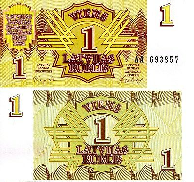 LATVIA 1 Rublis Banknote World Paper Money UNC Currency Pick p35 1992 Bill Note