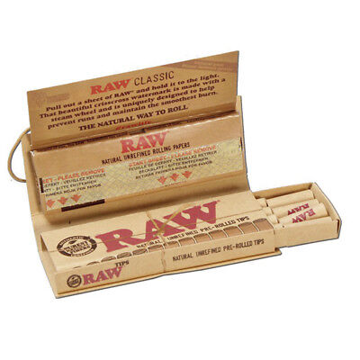 Raw Classic Connoisseur 1 1/4 Rolling Papers With Pre-Rolled Tips Combo Pack