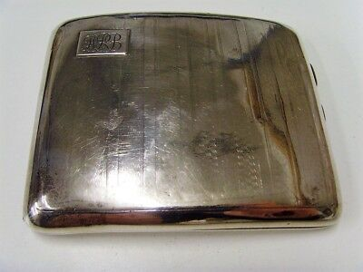 Curved,Solid Silver, Cigarette Case with Monogram, Dated late 1920's