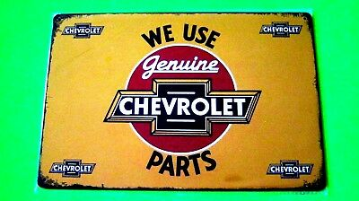 Metal tin SIGN, Garage Wall Decor Chevy Poster (WE USE GENUINE CHEVROLET PARTS)