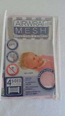 Cot Bumper - Air Wrap, 4 sided Cot Bumper Mesh in Pink.