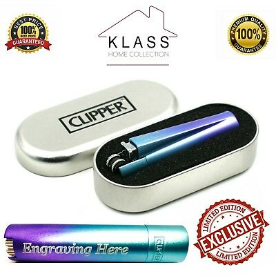 Personalised Traditional Blue Gradient Clipper Cigarette Lighter Engraved Gift!!