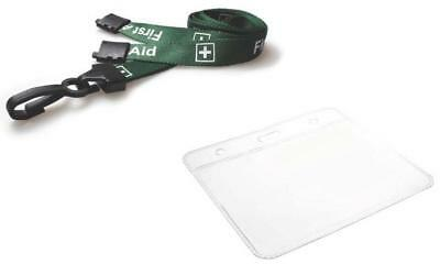 FIRST AID Lanyard Neck Strap With Flexible Wallet ID card Holder Badge Holder