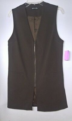 Estelle and Finn Women's Brown Structured Sleeveless Zip Up Vest Jacket Size 4