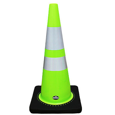 "28"" RK Lime Safety Traffic PVC Cones with Two Reflective Tape -CONE28L2T"
