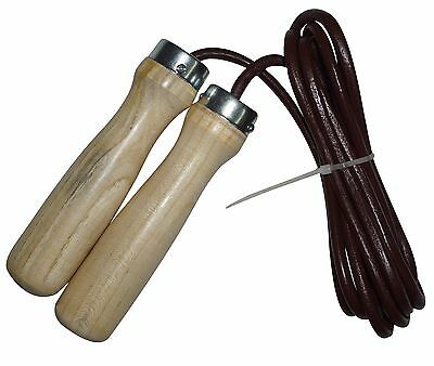 4Fit™ Valu Leather Skipping Rope Weight Wood Handle Exercise Fitness Speed Jump