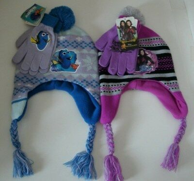 Girls Finding Dory or Disney Descendants Ear Flap Hat & Gloves Set OSFM NWT