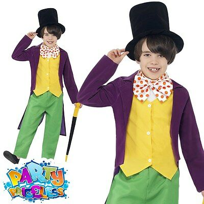 Boys Willy Wonka Costume Kids Roald Dahl Chocolate Factory Fancy Dress Outfit