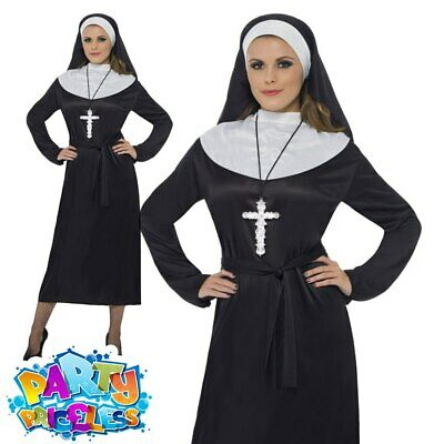 Ladies Nun Costume Sister Act Religious Habit Womens Fancy Dress Outfit