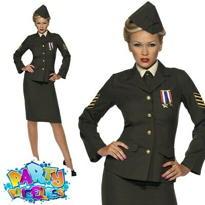 Wartime Costume 1940's WW2 Army Officer Uniform Womens Fancy Dress Ladies Outfit