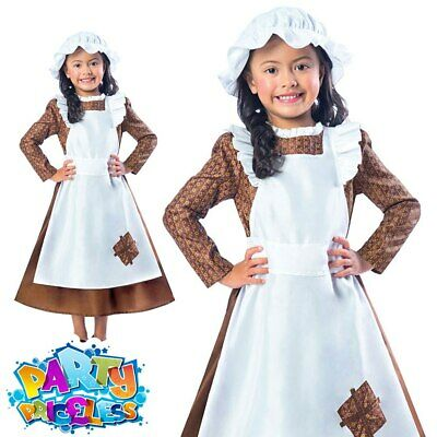 Victorian Poor Girl Costume Maid Fancy Dress Girls Book Day Kids Child Outfit