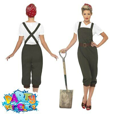 World War 2 Land Girl Costume Ladies WW2 Army Fancy Dress Womens Outfit