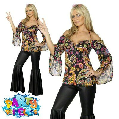 FEMALE HIPPY WOMAN Costume 60s 70s Fancy Dress Flares Womens UK 8-26 ...