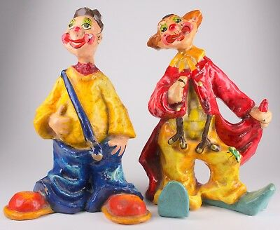 2 Vintage Signed Alvarez Paper Mache Red Blue Yellow Clown Figurine Mexico