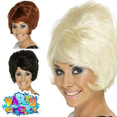Ladies Beehive Wig Auburn Blonde Black 50s 60s 70s MOD Fancy Dress