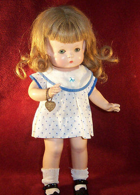 "Rare 1930's Effanbee 14"" Patsy Doll with Sleep Eyes, Wig, and Original Tagged Cl"