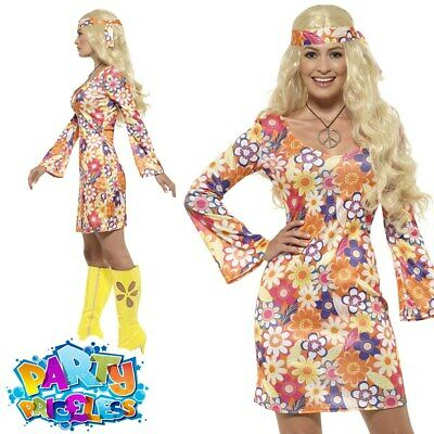 Adult Flower Hippie Costume Ladies 1960s Hippy 1970s Fancy Dress Outfit New