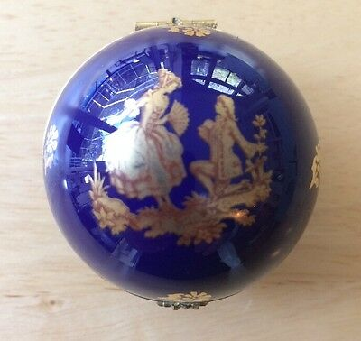 VINTAGE Cobalt Blue/Metalllic Gold LIMOGES hinged TRINKET BOX