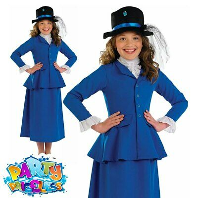Girls Victorian Nanny Fancy Dress Costume Film TV World Book Day Week Outfit