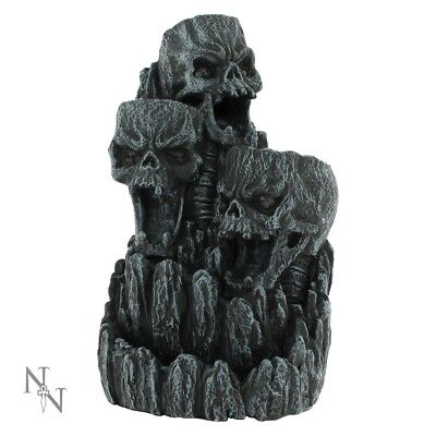 Skull Backflow Incense Cone Burner Holder Censer Waterfall Gothic Art Tower Gift