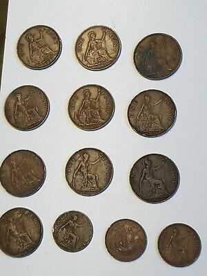 Lot of 13  1907-1942 GREAT BRITAIN ONE PENNY HALF PENNY GEORG VI Coin GB British