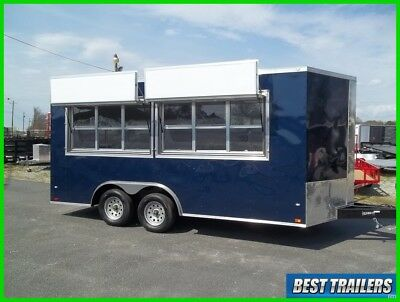 2017 8 x 16 enclosed concession 2 window vending trailer finished 8x16 marquee