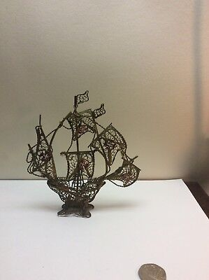 Vintage Gold Gilt Filligree Ship Signed