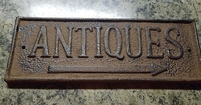 Cast Iron Antique Store Primitive Antiques Pointing Wall Plaque /Rustic Brown
