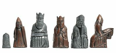 The Isle of Lewis Antiqued Chess Pieces - Metal