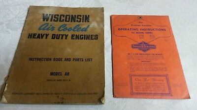 "(2) Vintage Operating Manuals "" WISCONSIN & BRIGGS  ""      Pac, 8"